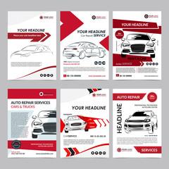Auto repair Services business layout templates set, automobile magazine cover, auto repair shop brochure, mockup flyer. Vector illustration.