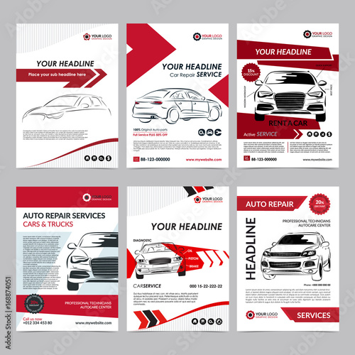Auto Repair Services Business Layout Templates Set Automobile