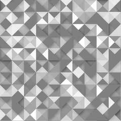 Vector seamless pattern white triangles of different transparency with an effect overlay on a gray background for your design, print and internet