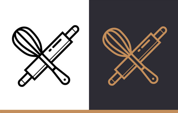 Linear icon of bakery, cooking. Pictogram suitable for websites