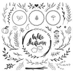 autumn rustic set with floral doodles
