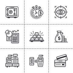 Unique linear icons set of finance, banking. High quality modern icons