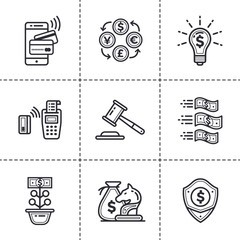 Linear icons set of finance, banking. High quality modern icons suitable for print, website and presentation