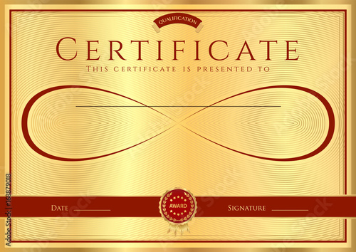 Certificate Diploma Of Completion Design Template With Gold Frame