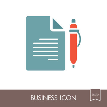 Contract Document With Pencil outline icon