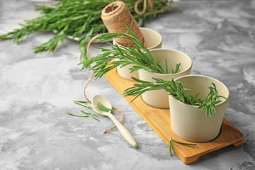 Pots with fresh rosemary on wooden board