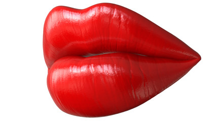 Lips women,kiss,mouth. Red kissing sexy lips, 3D render isolated on white background