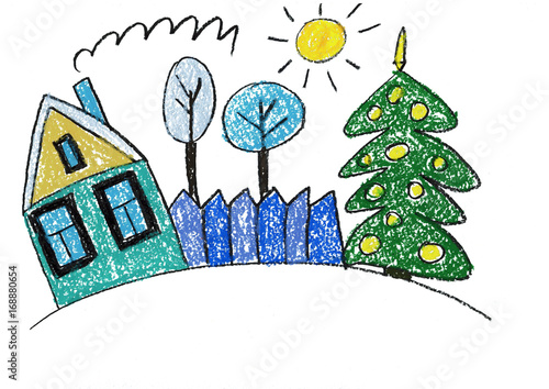 Christmas House Drawing.Christmas House Christmas Tree Landscape With Family House
