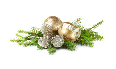 Christmas decoration baubles with branches of fir tree on white background