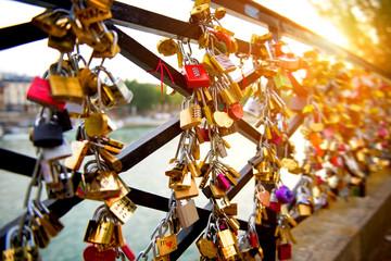 Locks of love on bridge in Paris Wall mural
