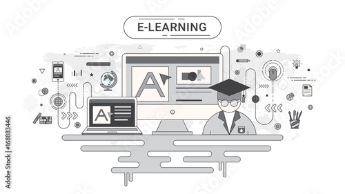 E learning infographic concept computer and online education icons computer and online education icons on world map background created gumiabroncs Image collections