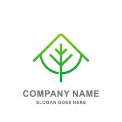 Green House Leaf Nature Tree Agriculture Conservation Architecture Interior Business Company Stock Vector Logo Design Template