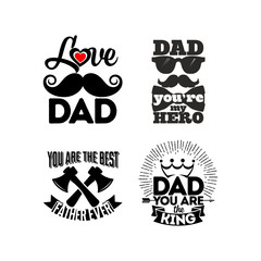 Logos and cards with typography about the dad. Happy Father's Day