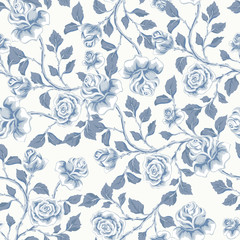 Floral seamless pattern with blue  roses.  Vector hand drawn background  for textile, print, wallpapers, wrapping.