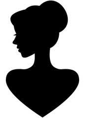 Portrait of a beautiful young woman in profile silhouette on a white background