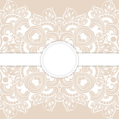 greeting card with lace for wedding, birthday and other holidays. Vector round frame.