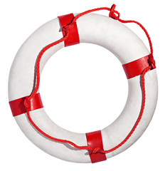 Red and white life preserver on white background