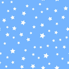 Seamless pattern with white stars on blue background. Vector