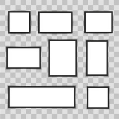 Photo frames on transparent background. Vector illustration