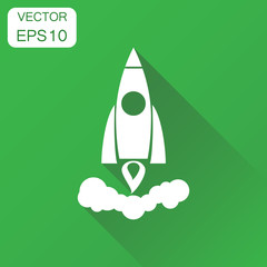 Rocket icon. Business concept rocket launch pictogram. Vector illustration on green background with long shadow.