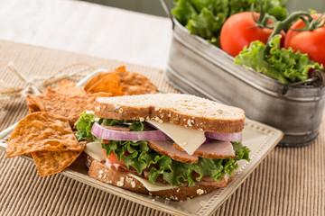 Healthy Lunch Ham Turkey Swiss Cheese Sandwich With Chips