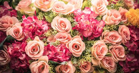Rose bouquet close up background.