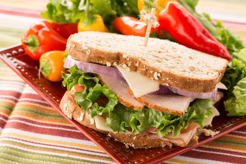 Healthy Food Turkey Ham Sandwich With Sweet Peppers