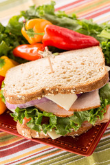 Sandwich On Plate With Turkey Ham and Sweet Peppers