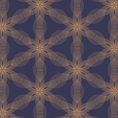 linear vector pattern, repeating abstract leaves, golden line of flower, floral. graphic clean design for fabric, event, wallpaper etc. pattern is on swatches panel. - 168893883