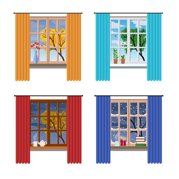 Set of different windows with a view on a tree, different season and weather. Flat style, vector graphic design template