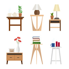 Set of different living room side tables, flat style, vector graphic design template