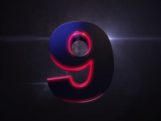 9 black extruded number with red light outline glowing in the dark and nice lens flare and smoke in background 3D render