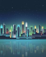 Night city skyline with neon lights. Modern city. Vector