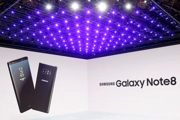 Images are projected on a screen as Samsung Electronics' Mobile Communications introduces the Galaxy Note 8 smartphone during a launch event in New York City