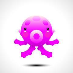 Adorable octopus character. Vector illustration