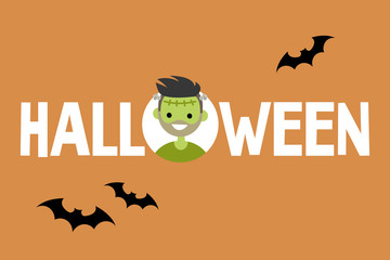 Halloween conceptual sign. Frankenstein and black silhouettes of bats / Flat editable vector illustration