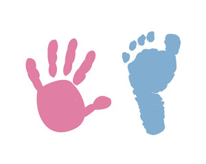 Baby hand baby foot prints background
