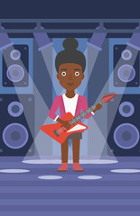 An african-american woman playing electric guitar on the stage with spotlights vector flat design illustration. Vertical layout.
