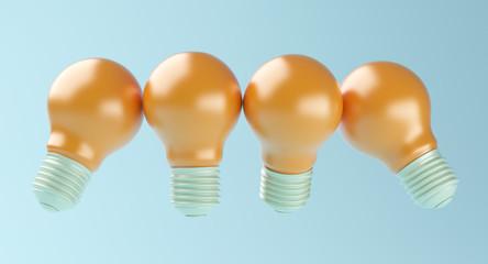 Idea Design Concept, Pastel Bulb on blue brightness background.