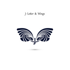 J-letter sign and angel wings.Monogram wing vector logo template.Classic emblem.