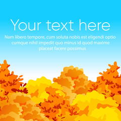 Vector illustration of bright and colorful autumn yellow and red trees on blue sky background with place for text. Flat cartoon style.