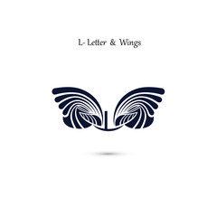 L-letter sign and angel wings.Monogram wing vector logo template.Classic emblem.