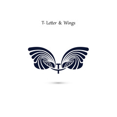 T-letter sign and angel wings.Monogram wing vector logo template.Classic emblem.