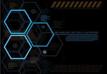 Abstract hexagon futuristic technology color on black design modern creative graphic background vector illustration.