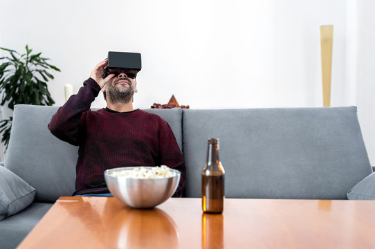Man in Virtual Reality glasses