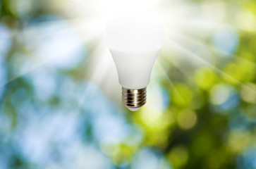 light bulb on green background close- up