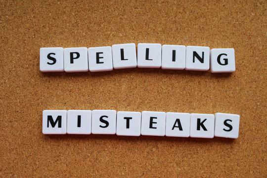 Letter tiles for spelling mistake concept