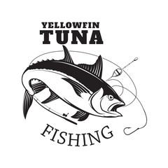 Tuna fishing emblem. Design element for logo, label, emblem, sign. Vector illustration