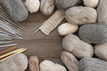 Various neutral colored yarn and needles