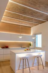 Interior of light kitchen